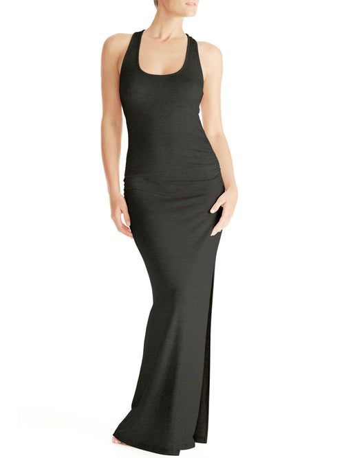 Ava Racer Back Maxi Gown - Charcoal Grey