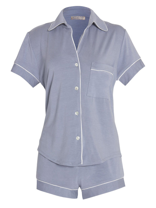 Amanda Short Sleeve Piped PJ Set Pajama Sets by Le Marché by NP
