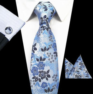 Active Jackets - Hawaii Fashion Floral Neck Ties Pocket Square Cufflinks Set