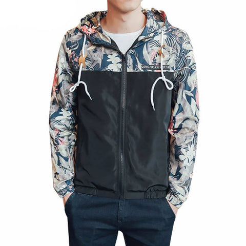 Active Jackets - NEW Black Hawaii Floral Hood Jacket