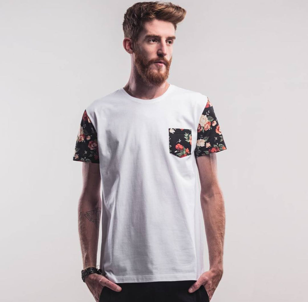 Active Shirts - White Hawaii Floral Patch T-Shirt