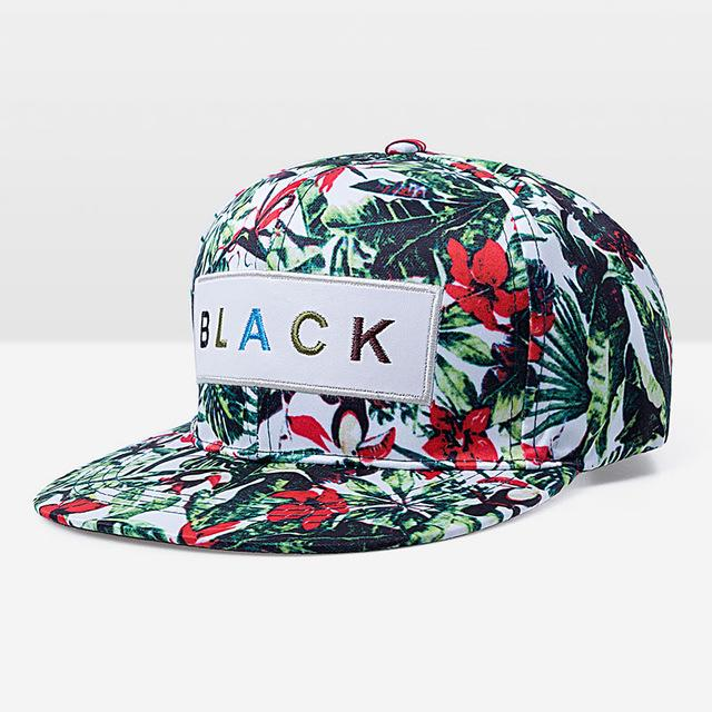 Black Flower Label Snapback Cap