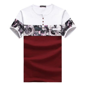 New Arrival Casual Flower Print Patchwork Shirt