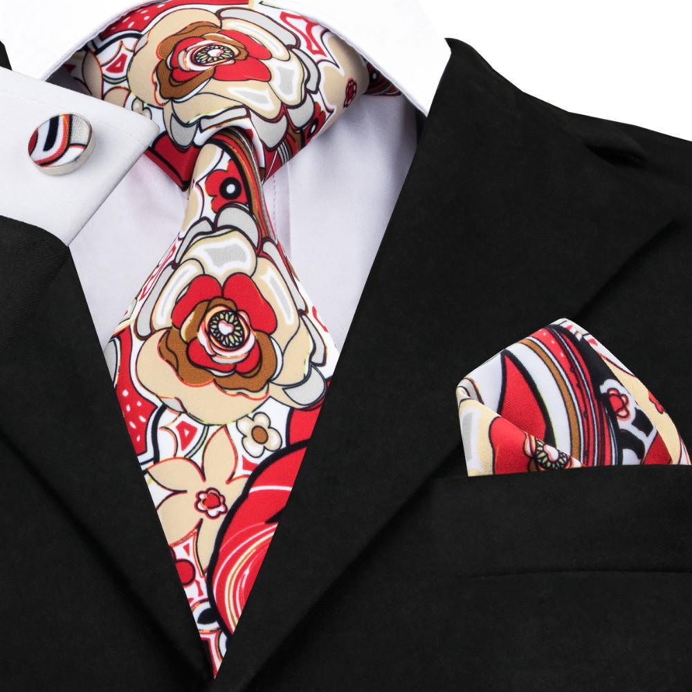 NEW Floral Men Neck Tie & Hanky Cufflinks Set