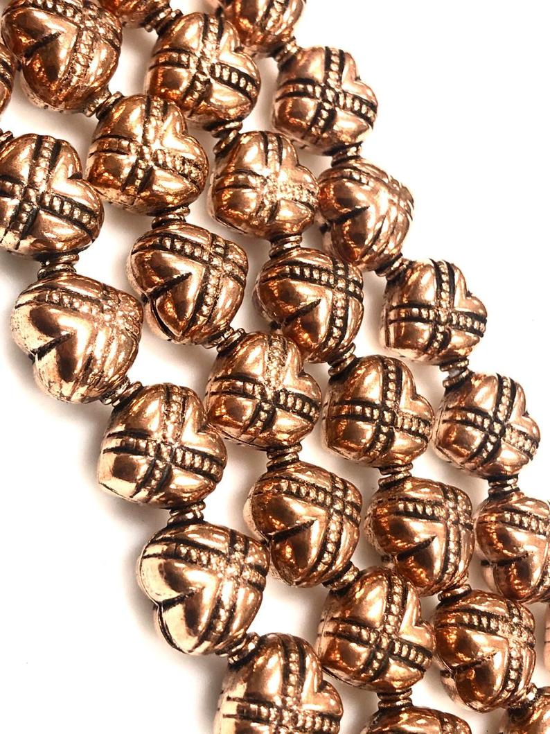 Handmade Solid Copper Bali Style Spacer Beads, Copper Beads 25 pcs