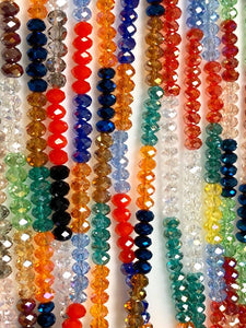 Fire Polish Crystal Beads, Multi Color Crystal Beads, Crystal 4mm 21 strands Lot