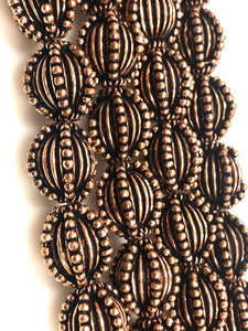 Solid Copper Bali Style Spacer Beads, Handmade Copper Beads 25 pcs