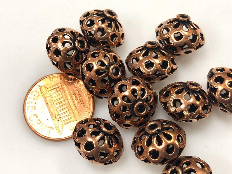 Solid Copper Bali Style Spacer Beads, Solid Copper Beads 25 Pcs
