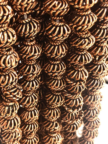 Solid Copper Bali Style Spacer Beads, Copper Beads Cap 50 pcs