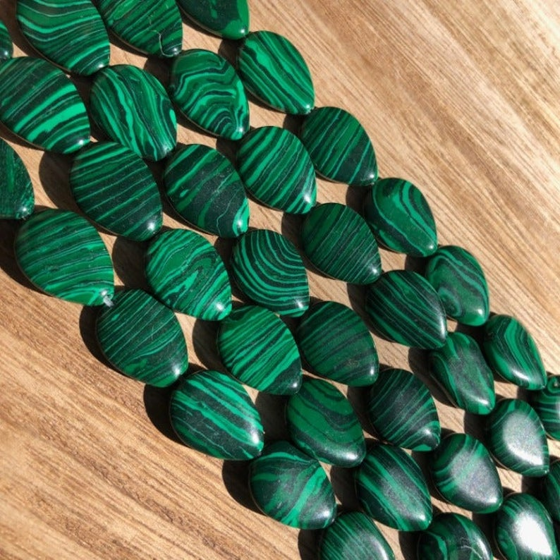 Malachite Beads, Malachite Pear Smooth Beads, Pear Shape Beads, 18x12 mm