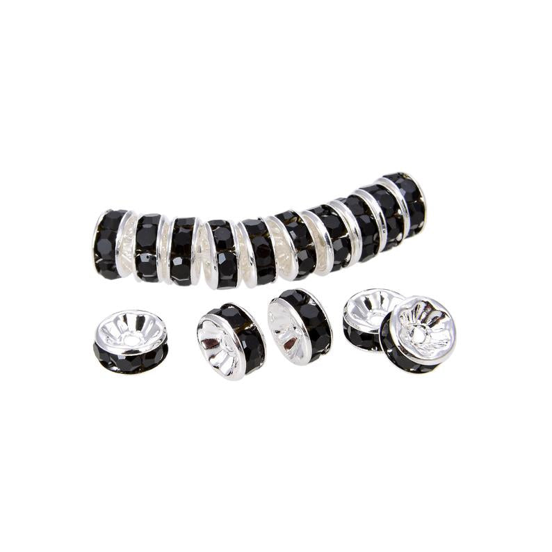 Bright Silver Plated 8 mm Black Crystal Rondelle Spacer Beads 200 Pcs