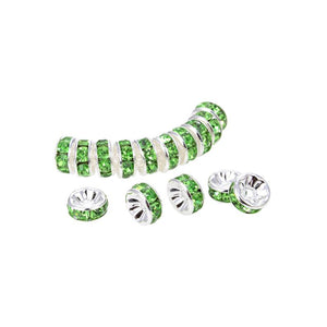 Bright Silver Plated 8 mm Peridot Crystal Rondelle Spacer Beads 200 Pcs