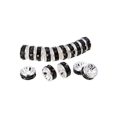 200Pcs Bright Silver Plated 6mm Black Crystal Rondelle Spacer Beads