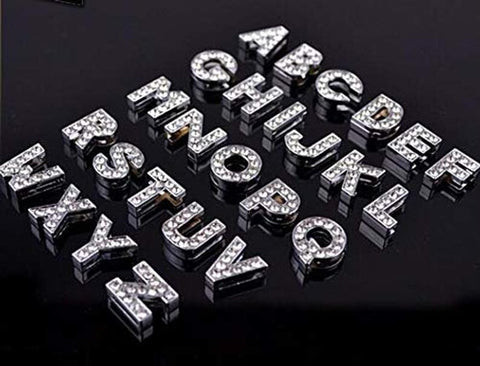 A-Z Rhinestones Charms, Alphabet Charms, Slide Letters, 8mm Rhinestone Alphabet