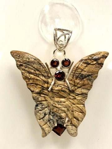 92.5 Sterling Silver Picture Jasper Pendant, Solid Sterling Silver Butterfly Pendant 2 Inch Long