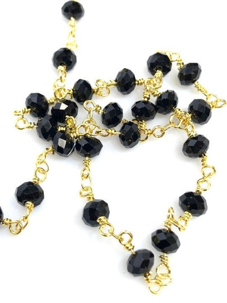 Black Crystal Beaded Chain, Crystal Rosary Beaded Chain 3 Feet