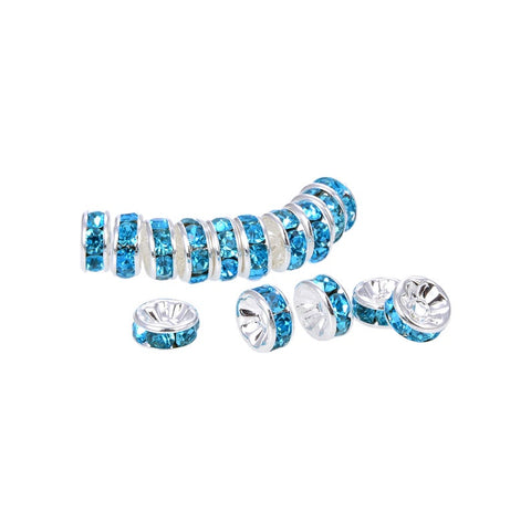 Bright Silver Plated 8 mm Teal Crystal Rondelle Spacer Beads