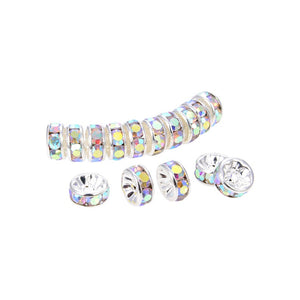 200Pcs Bright Silver Plated 6 mm Irrisdent Color Crystal Rondelle Spacer Beads