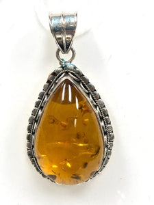 92.5 Sterling Silver Amber Pendant, Solid Sterling Silver Pendant 2 Inch Long