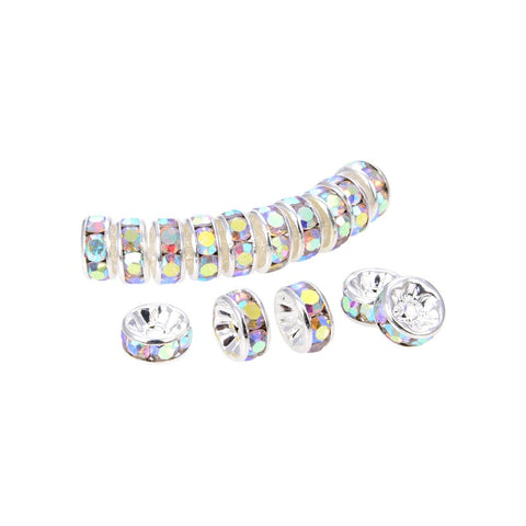 200Pcs Bright Silver Plated 10 mm Irrisdent Color Crystal Rondelle Spacer Beads
