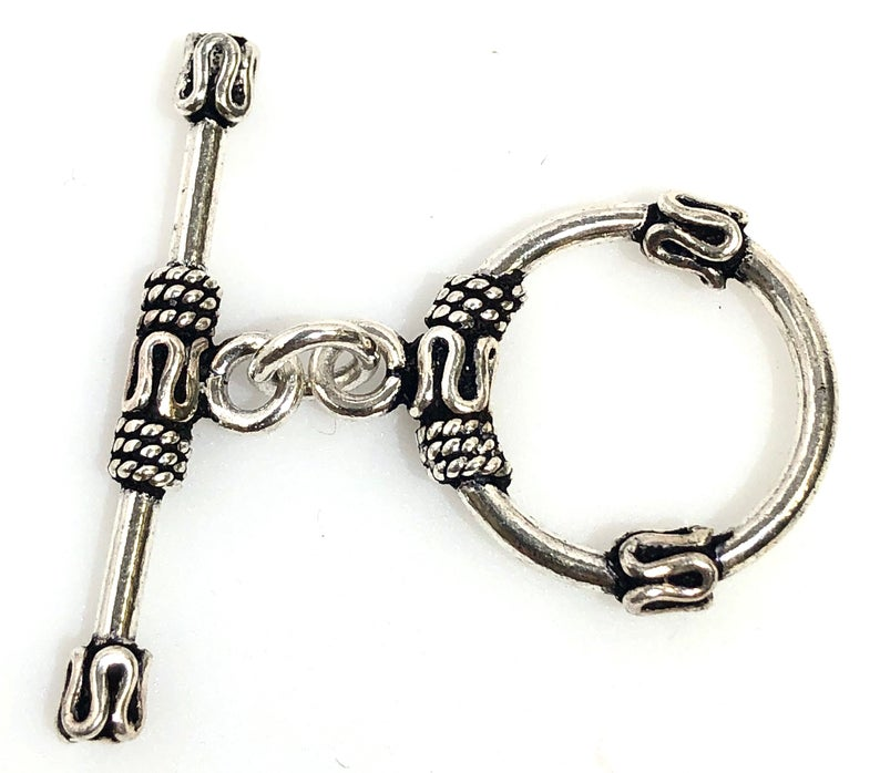 92.5 Sterling Silver Toggle Clasp, Solid Sterling Silver 22 mm Toggle Clasp Connector