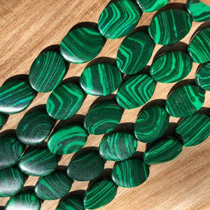 Malachite Beads, Malachite Oval Shape Beads, Malachite Twisted Oval 20 mm Beads