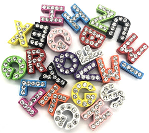 A-Z Rhinestones Letters, Multi-Color 8 mm Rhinestone Alphabet Letters Charms