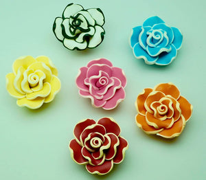 Mix Polymer Fimo Clay Beads, Rose Flower Spacer Beads, 30 mm Polymer Beads 20 Pcs