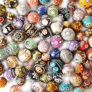 100 Piece Unique Clay Beads, Multi-Color Boho Style Beads,Unique Clay Boho Beads