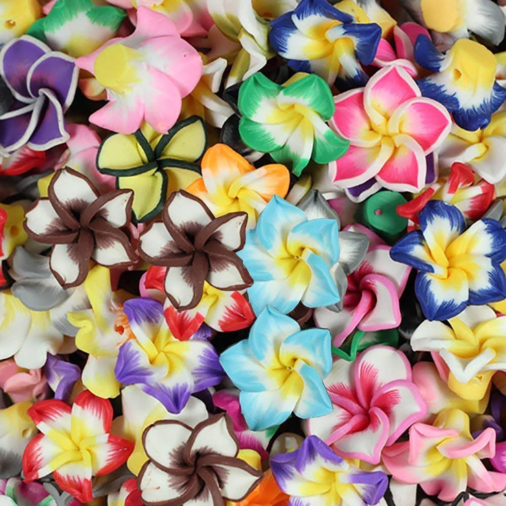 Mix Polymer Fimo Clay Beads, 5 Leaves Flower Shape Spacer Beads, 15 mm Polymer Beads