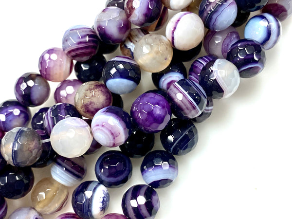 Natural Purple Stripe Agate Gemstone Beads / Round Shape Beads / Healing Energy Stone Beads / 10mm 2 Strands Beads