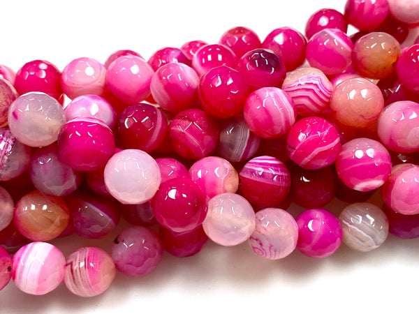Natural Pink Stripe Agate Gemstone Beads / Round Shape Beads / Healing Energy Stone Beads / 10mm 2 Strands Beads
