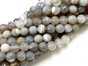 Natural Grey Stripe Agate Gemstone Beads / Round Shape Beads / Healing Energy Stone Beads / 10mm 2 Strands Beads