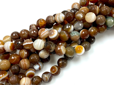 Natural Stripe Agate Gemstone Beads / Round Shape Beads / Healing Energy Stone Beads / 10mm 2 Strands Beads