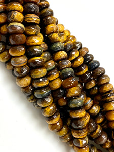 Natural Tiger Eye Gemstone Beads / Rondelle Shape Beads / Healing Energy Stone Beads / 10mm 2 Strands Beads