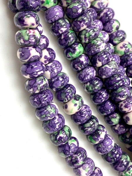 Natural Purple Rain Jasper Gemstone Beads / Rondelle Shape Beads / Healing Energy Stone Beads / 10mm 2 Strands Beads