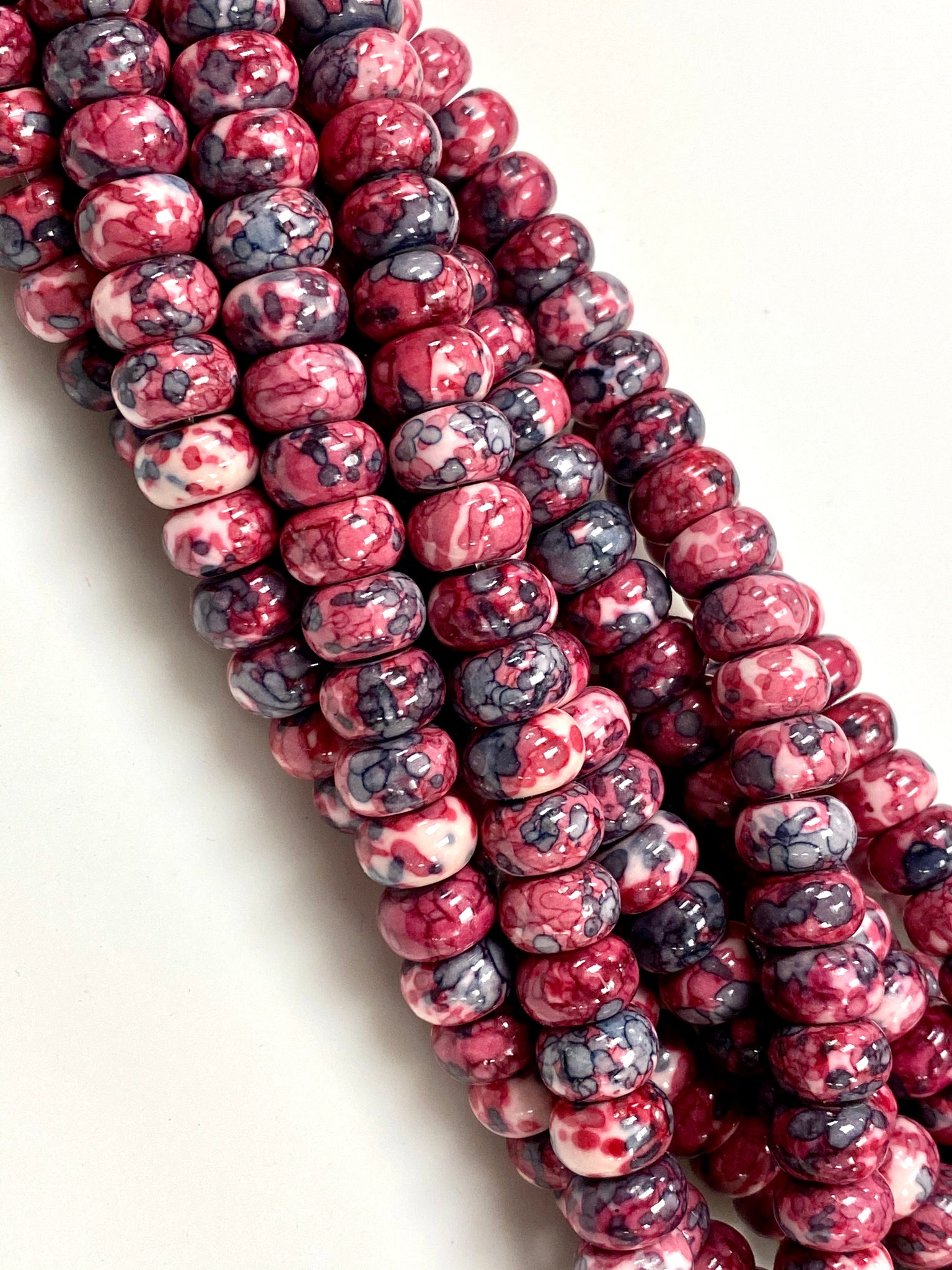 Natural Red Rain Jasper Gemstone Beads / Rondelle Shape Beads / Healing Energy Stone Beads / 10mm 2 Strands Beads