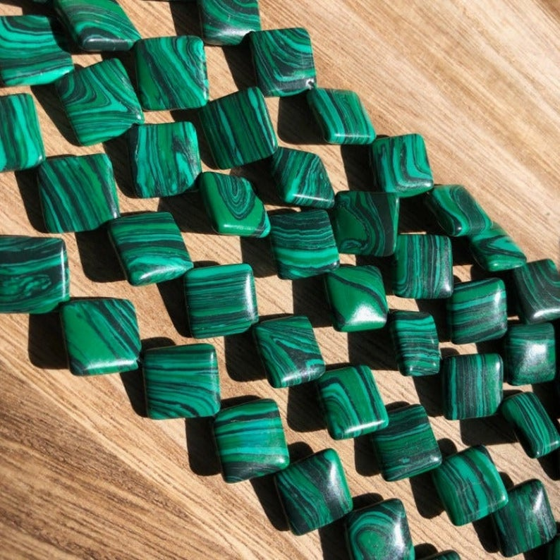Malachite Beads, Malachite Diamond Shape Beads, 12 mm Malachite Beads