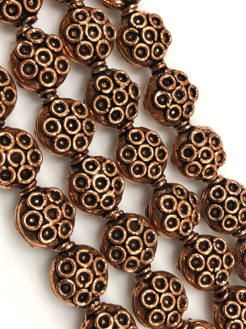 Solid Copper Bali Style Spacer Beads, Copper Beads 10 Pcs