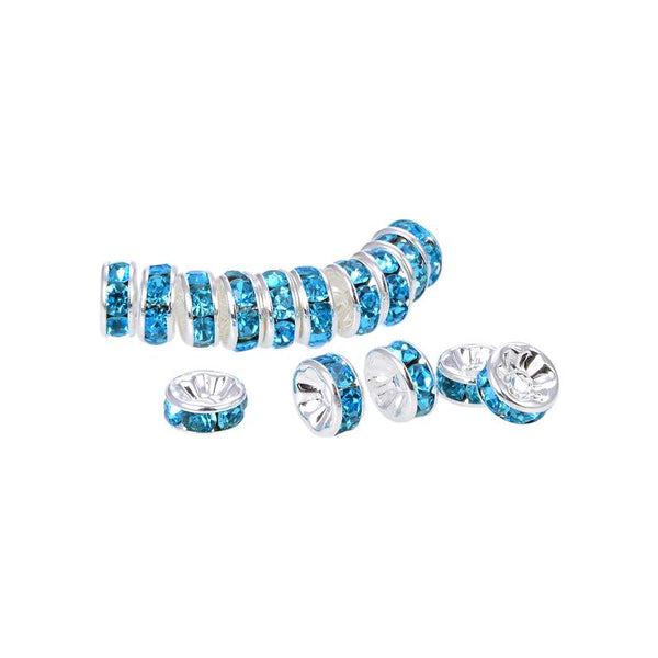 Silver Plated Teal Crystal Spacer Beads, Roundelle Spacer Beads