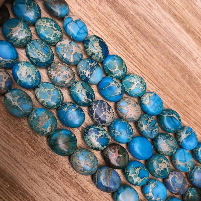 Natural Blue Imperial Jasper Beads, Jasper 8x10 mm Faceted Oval Shape Beads