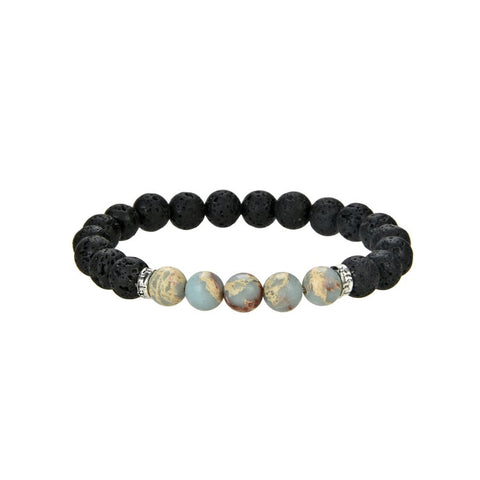 Natural Black Lava and Aqua Imperial Jasper Beaded Bracelet, Round 8 mm Beaded Bracelet