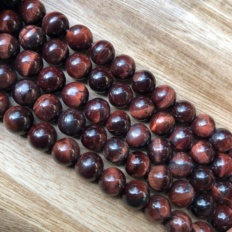 Natural Hawlite Red Tiger Eye Beads, Tiger Eye 7 mm Smooth Round Shape Beads