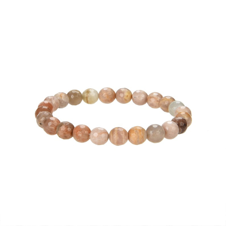 Natural Sunstone Beaded Bracelet, Sunstone Faceted 8 mm Round Beaded Bracelet
