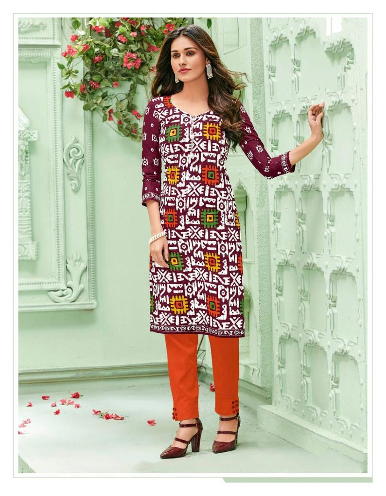 Designer Women's Cotton Kurti V Neck