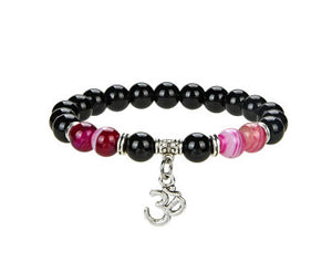 Natural Black Onyx And Pink Stripped Agate Beaded Bracelet With Metal, Agate and Onyx Round Shape Om Sign Bracelet