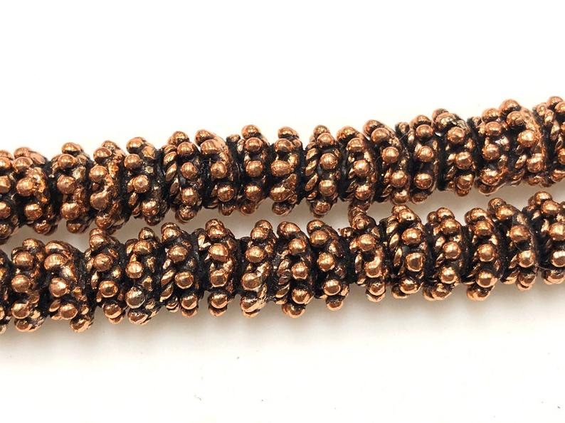 Solid Copper Bali Style Spacer Beads, Copper Beads 50 Pcs