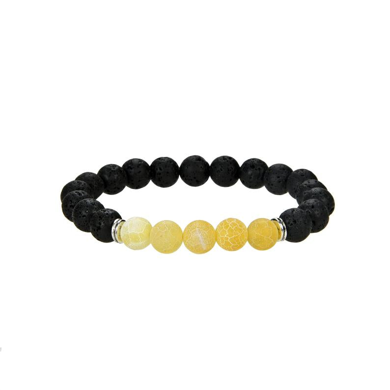 Natural Black Lava and Frosted Yellow Agate Beaded Bracelet, 8 mm Round Beaded Bracelet