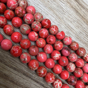Natural Red Imperial Jasper Beads, Jasper 8 mm Round Shape Faceted Beads
