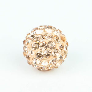Crystal Pave Beads 12 mm Peach